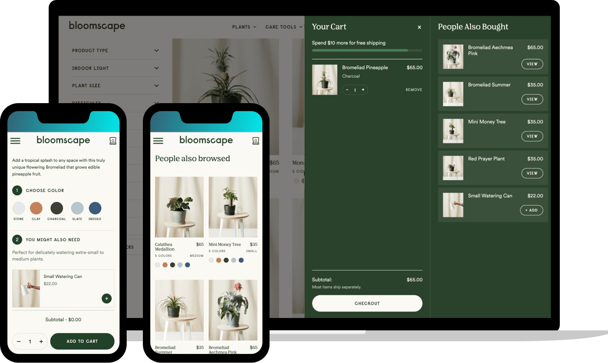 Bloomscape layered upsells in three different approaches