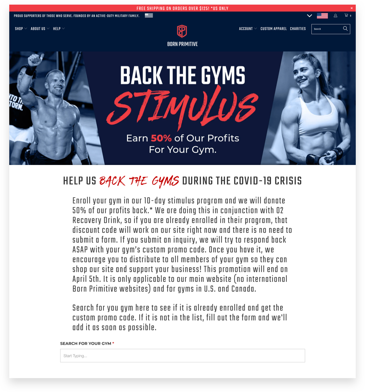 Born Primitive Back the Gyms Stimulus