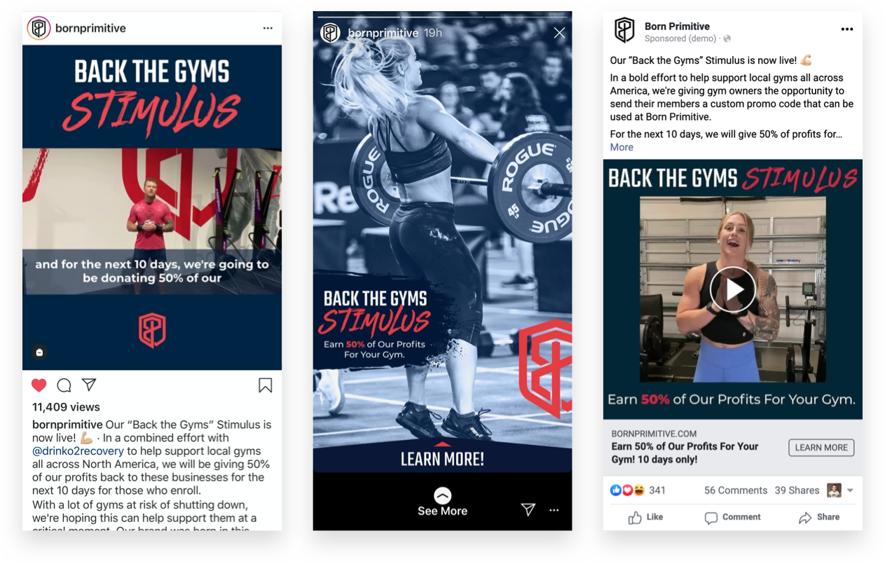 Born Primitive Instagram and Facebook Back the Gyms Stimulus Ads