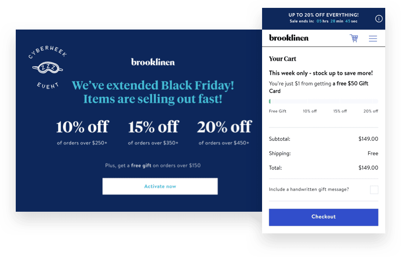Brooklinen's tiered holiday discount pop-up and checkout