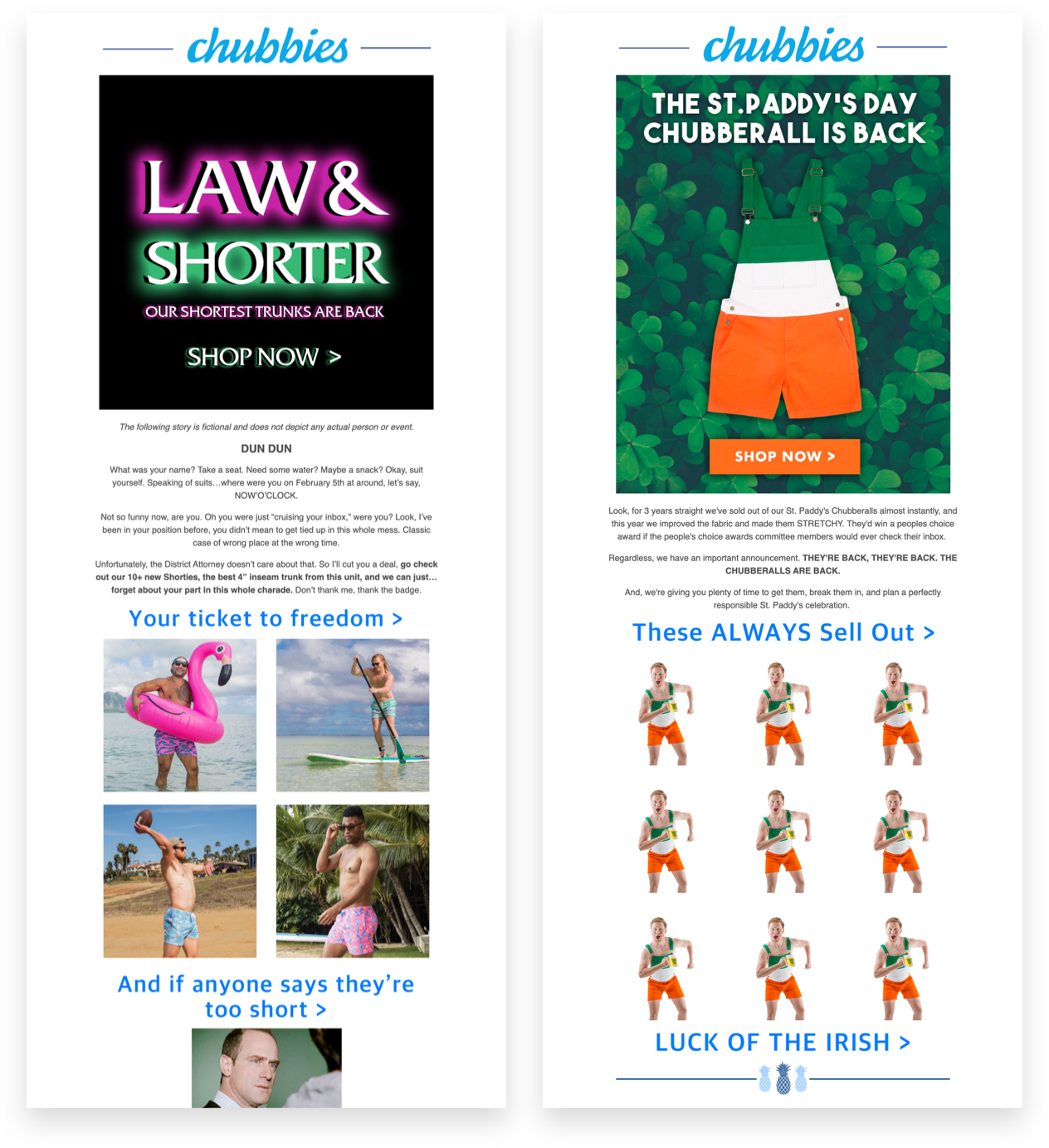 Chubbies Email Content Marketing
