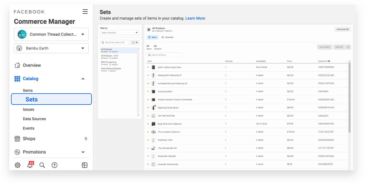 Guide to setting up facebook commerce manager sets for Dynamic Product Ads