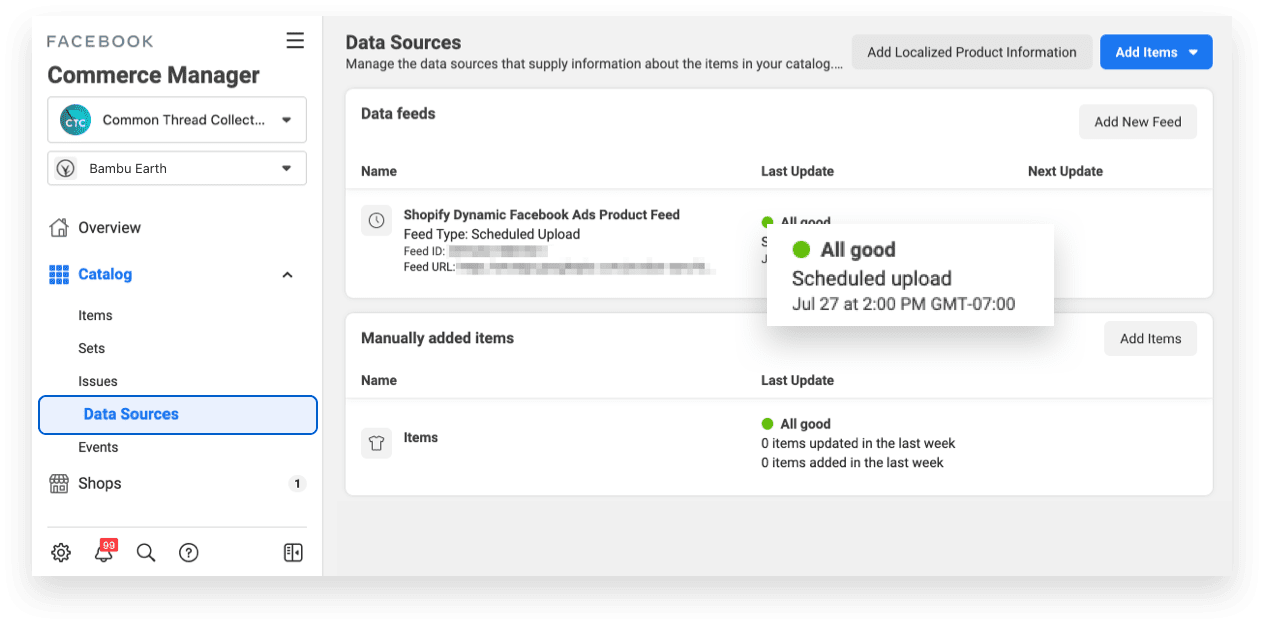 Facebook Commerce Manager Data Sources
