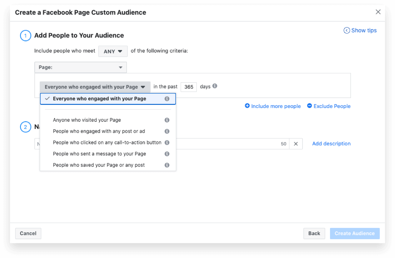 Create a Facebook Page Custom Audience for Reengagement Ads