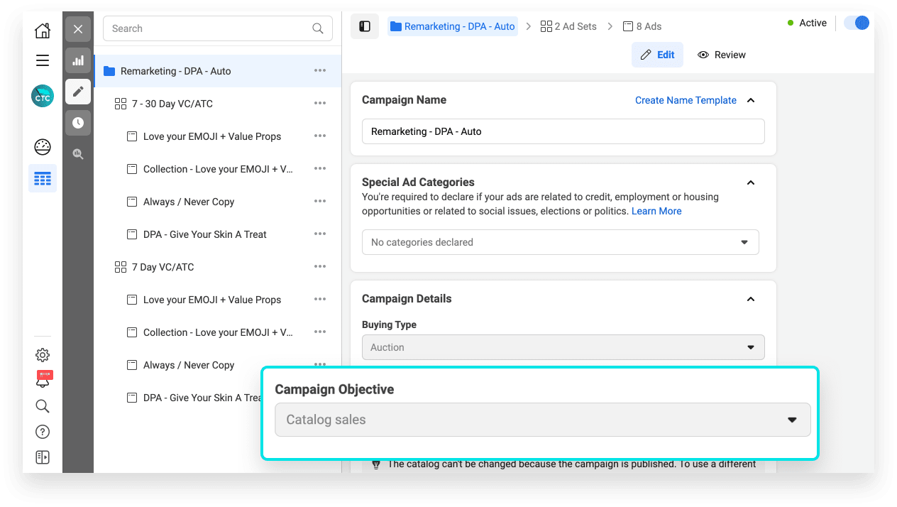 facebook ads audit: setup your DPA campaigns with the 'Catalog Sales' objective
