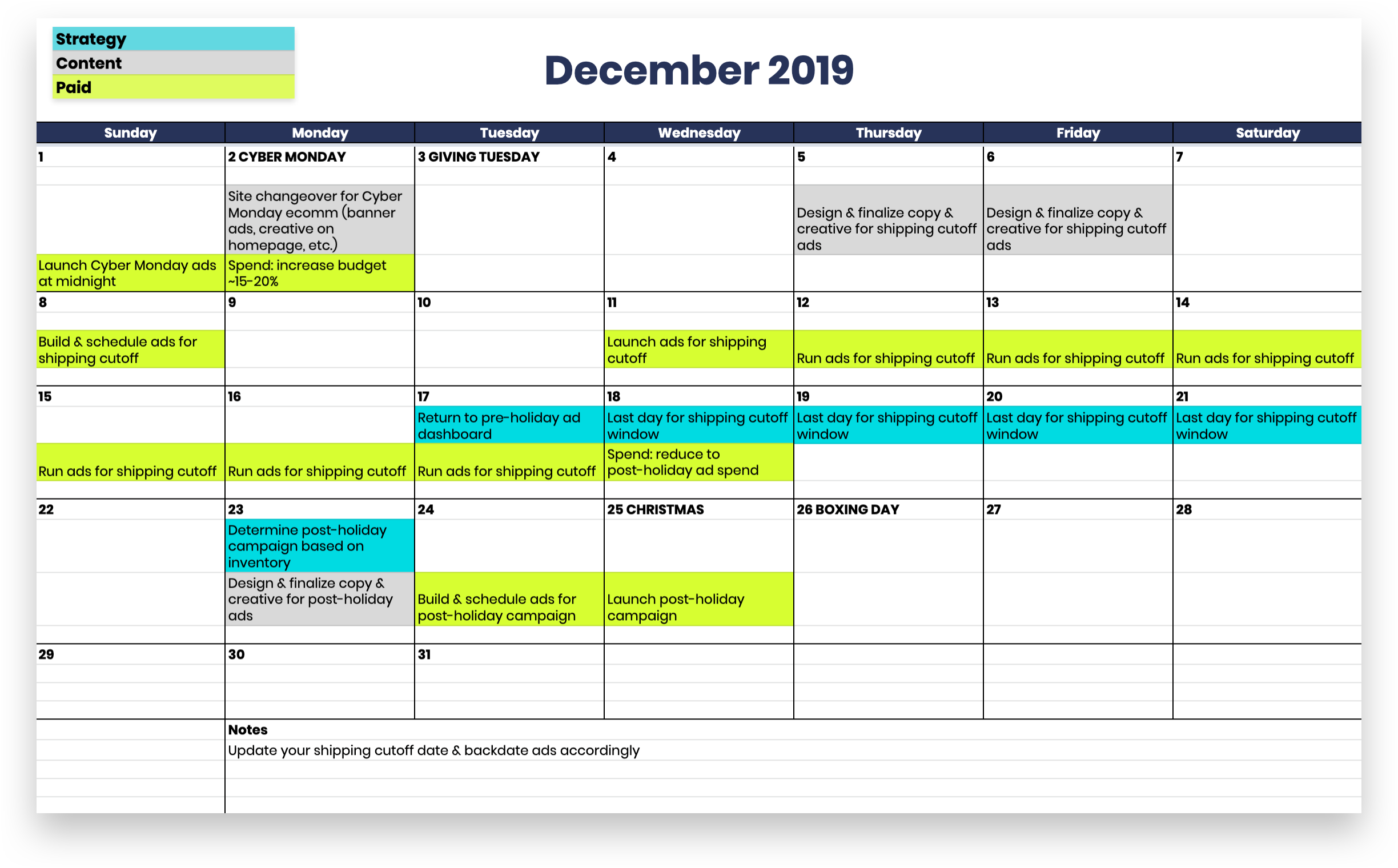December Black Friday Campaigns Calendar
