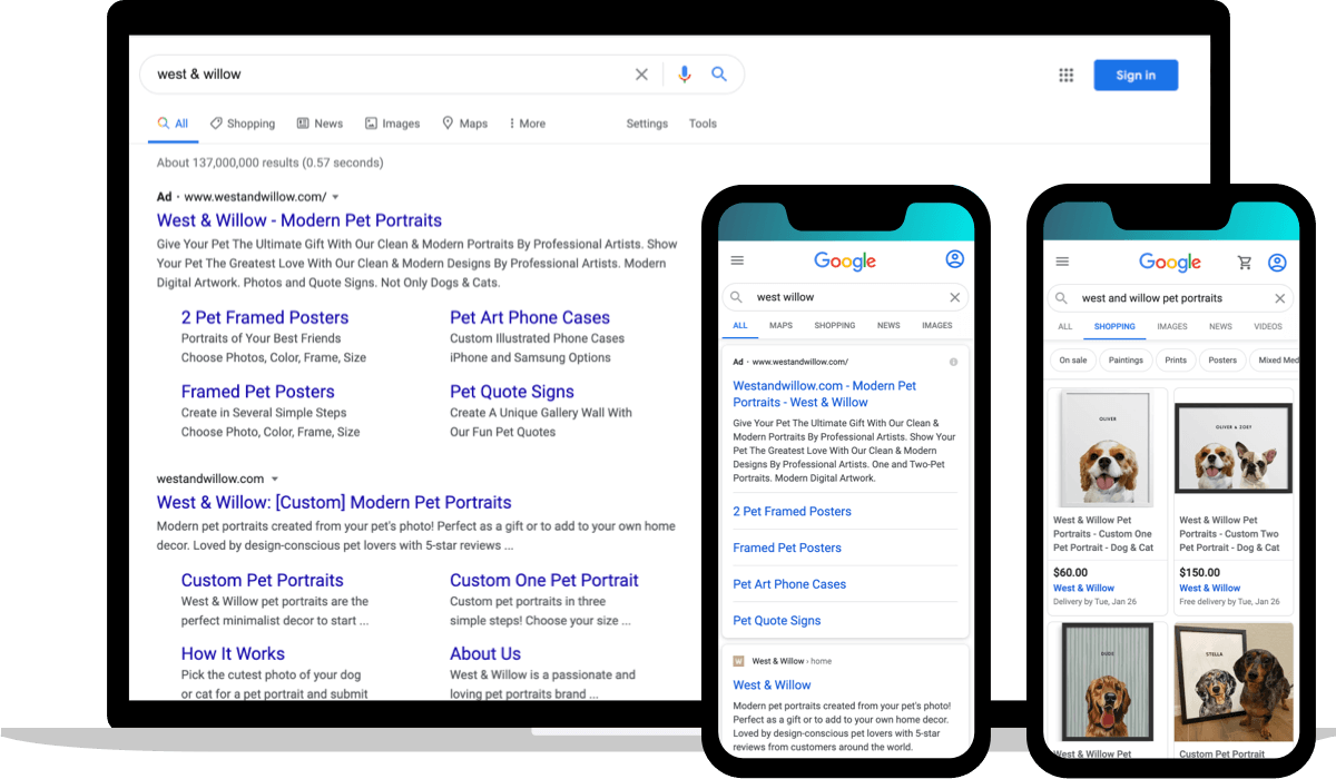 Branded search engine results (mobile and desktop) for West & Willow