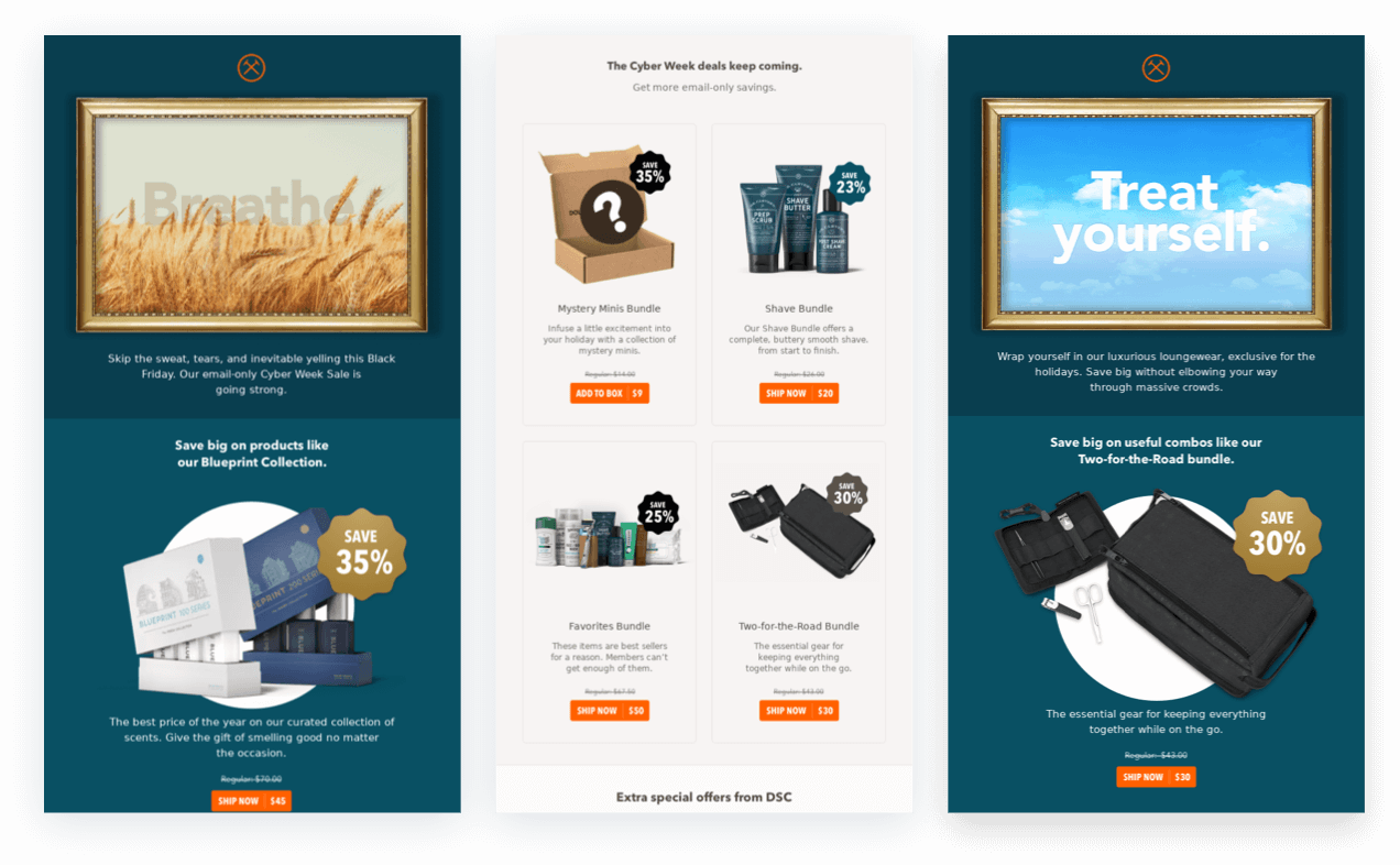 Dollar Shave Club Black Friday Cyber Monday Emails