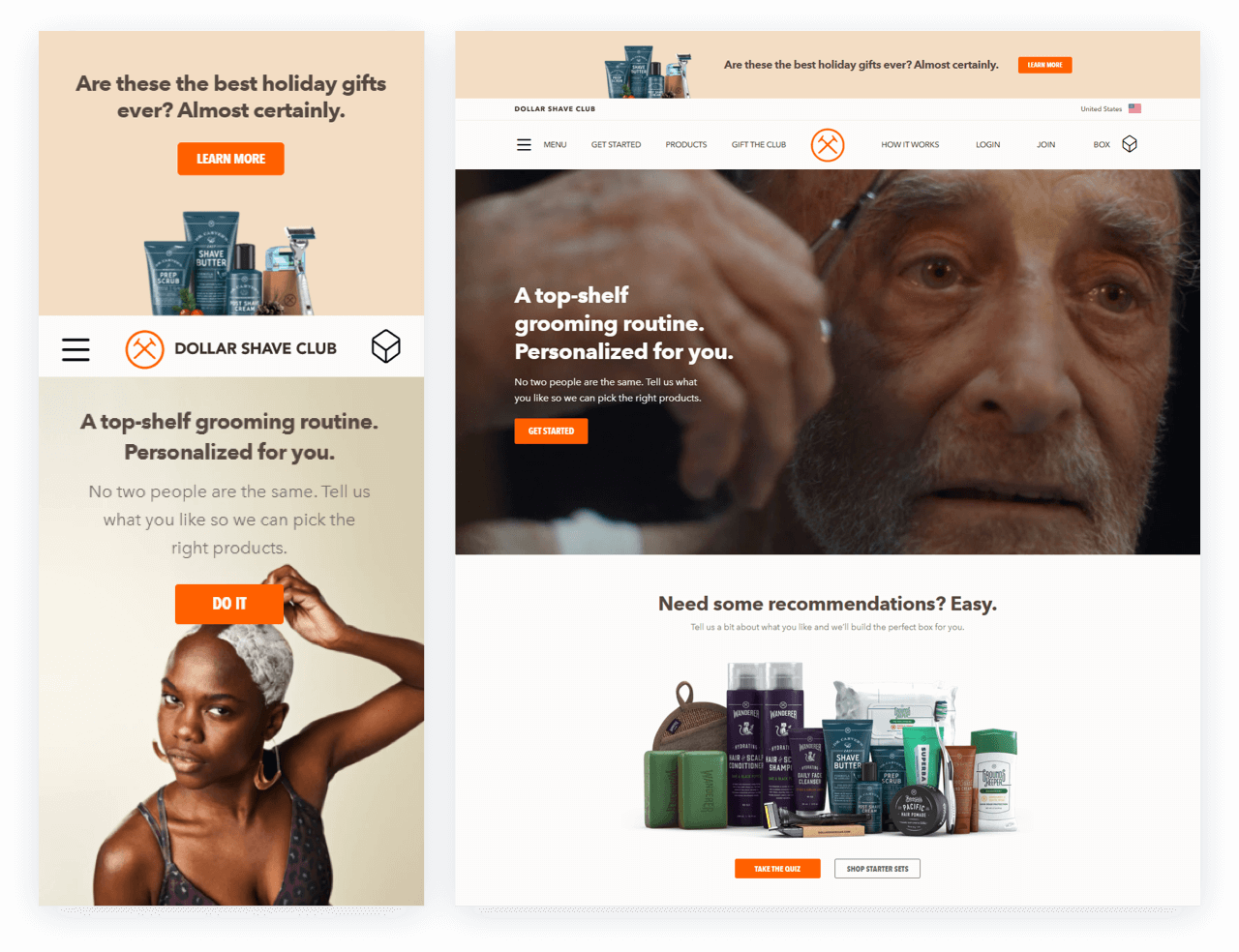 Dollar Shave Club Homepage Black Friday Cyber Monday