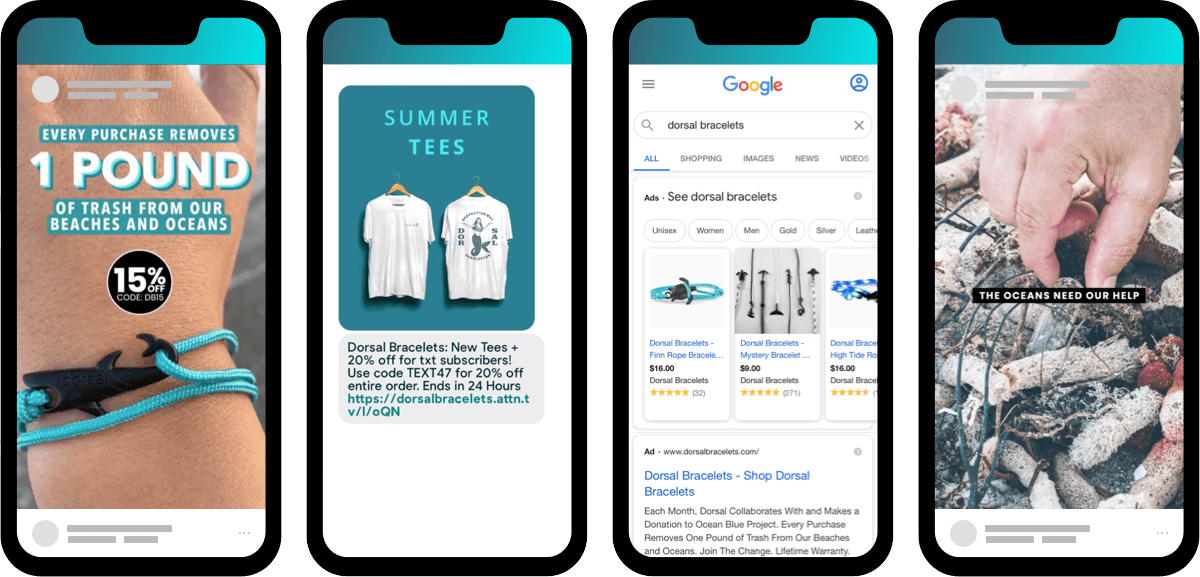Fashion Ecommerce wins through social ads, google, email and SMS for Dorsal