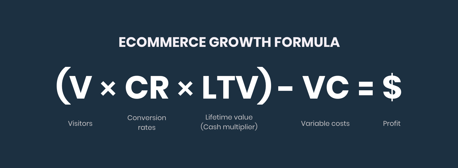 Ecommerce Growth Formula: Visitors times Conversion Rate times Lifetime Value (Cash Multiplier, or 60-day LTV) minus Variable Costs equals Profit