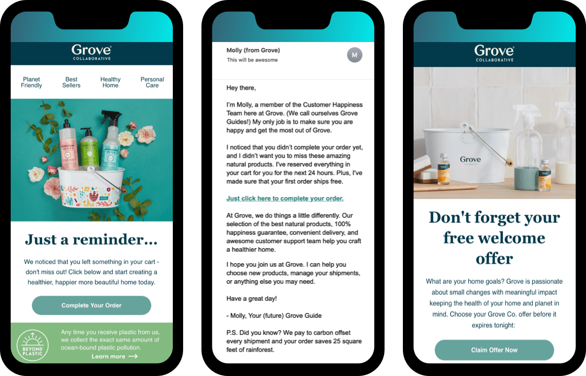 Grove Collaborative checkout abandonment emails within the home furnishing industry