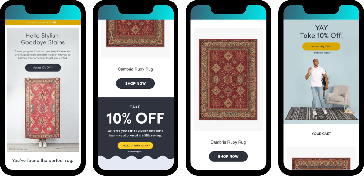 email checkout abandon examples from the home furnishing brand, Ruggable