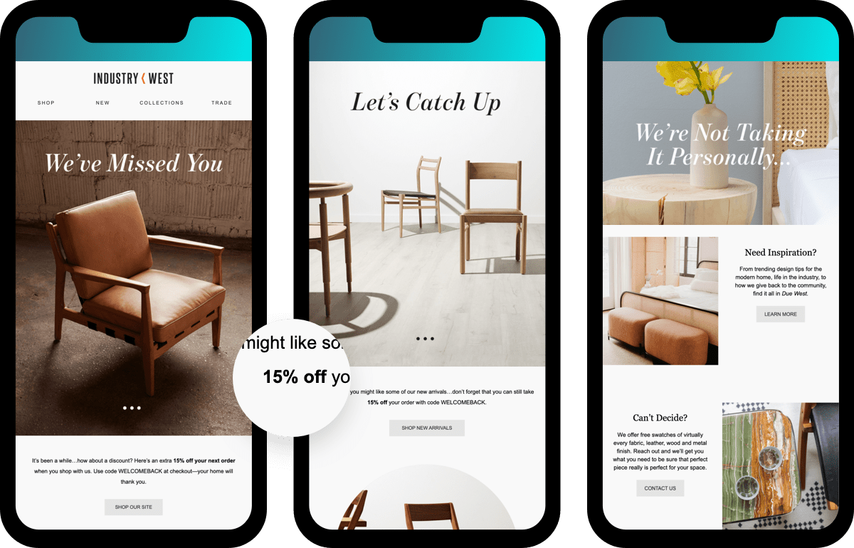re-engagement email industry examples for home furnishing brands