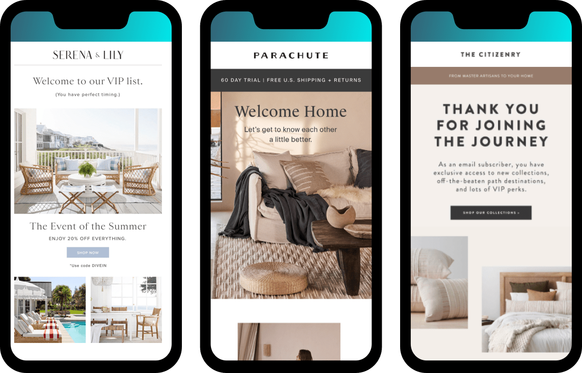 industry welcome email examples for home furnishing