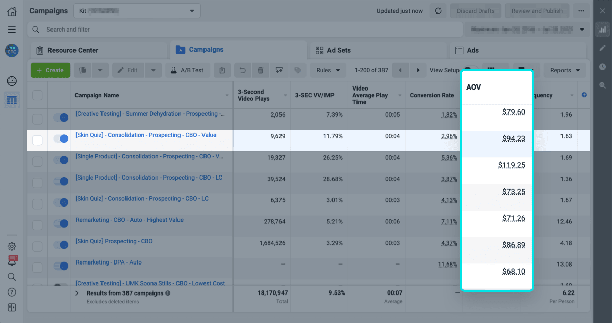 guide to finding your facebook ads AOV inside facebook ads manager