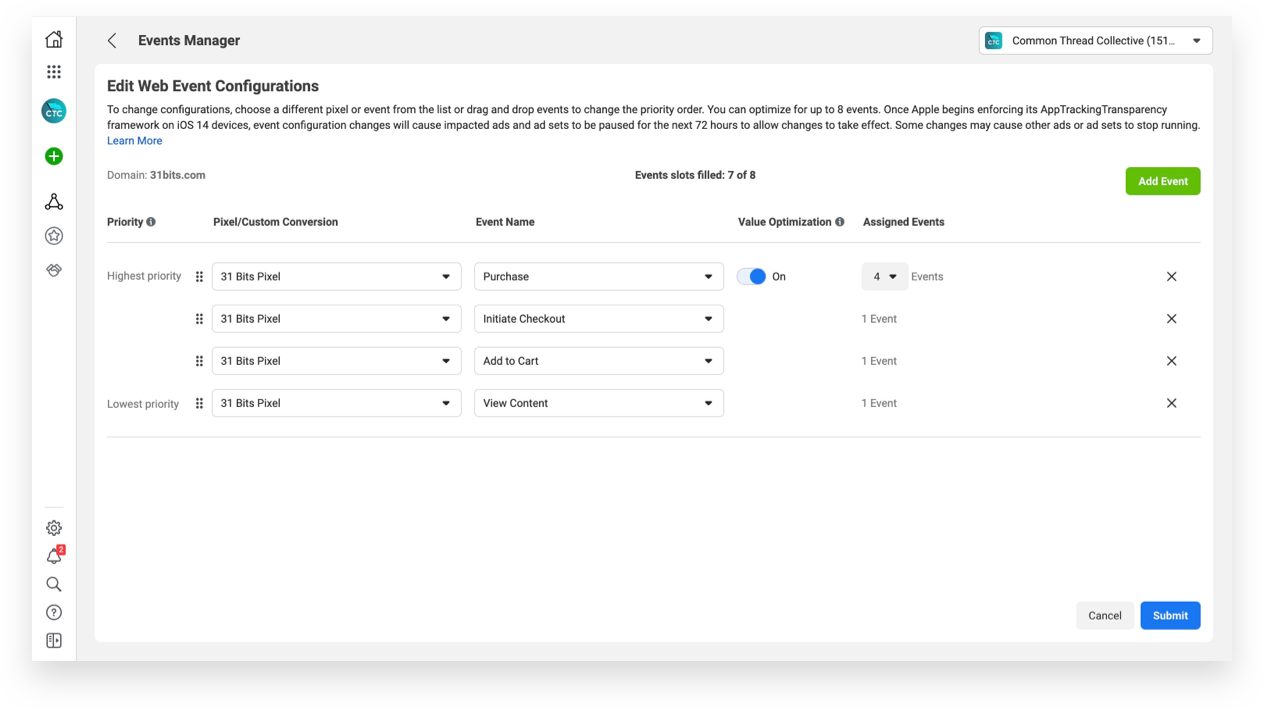 Setting up and prioritizing Facebook's Aggregated Events Management: Step 4