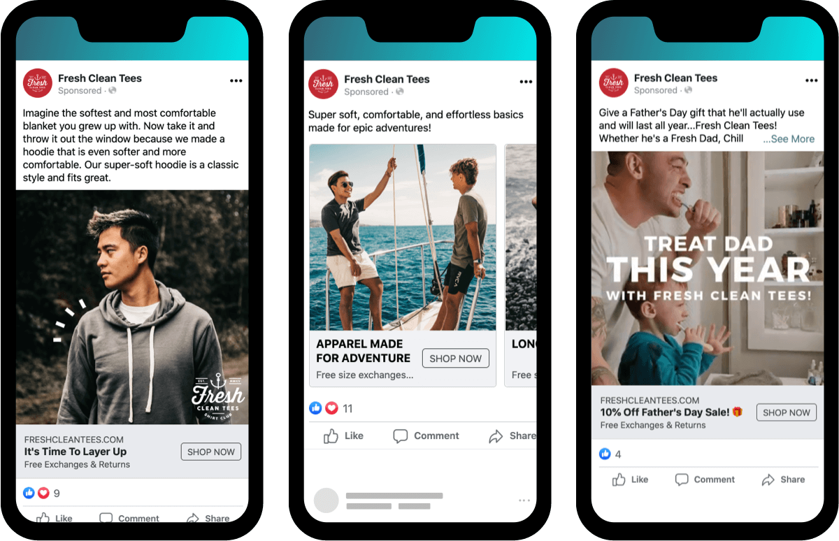 Facebook ads ecommerce campaigns showing specific products, targeted buyer personas, and seasonal events for Fresh Clean Tees