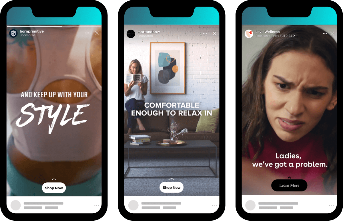 9x16 ad videos for Instagram Stories: Born Primitive, Mott & Bow, Love Wellness