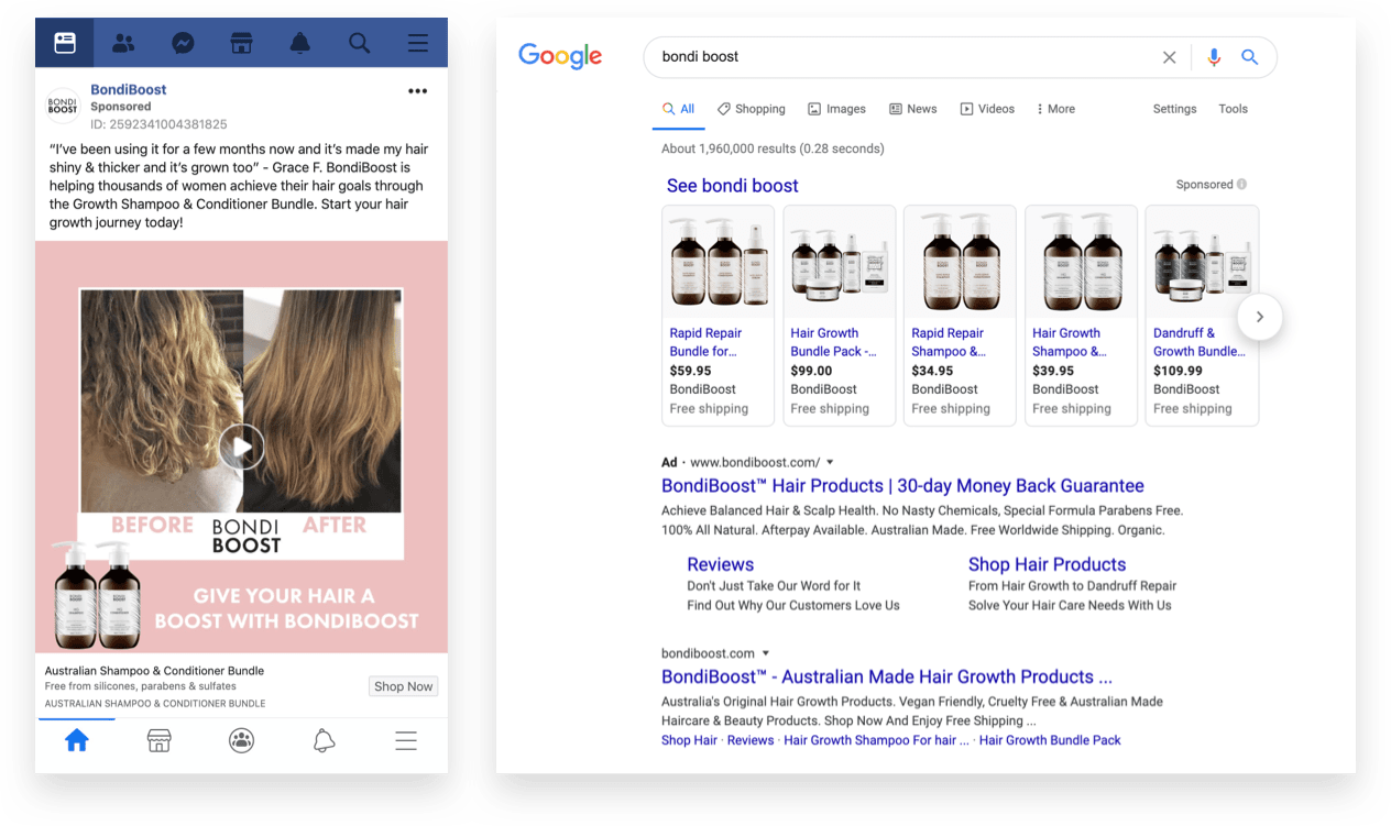Bondi Boost Google Shopping Ad and Facebook Example