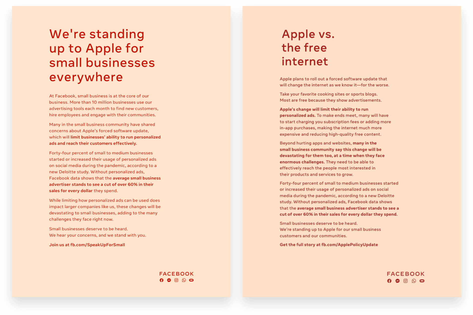 Facebook's Full-Page Ads Against Apple iOS 14 Privacy Update from 12-16-2020 and 12-17-2020 — We're standing up to Apple for small businesses everywhere and Apple vs. the free internet