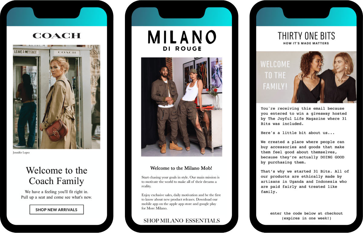 Welcome emails from ecommerce fashion apparel and accesories brands: Coach, Milano Di Rouge, and Thirty One Bits
