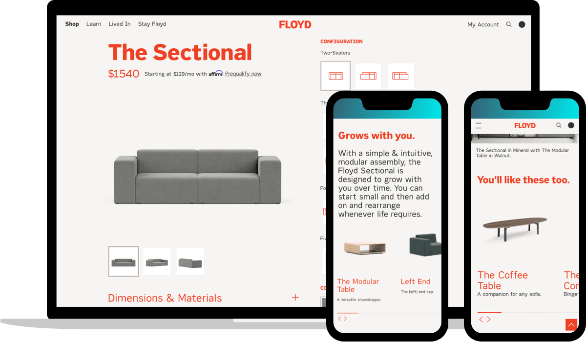 Floyd 'The Sectional' product description page