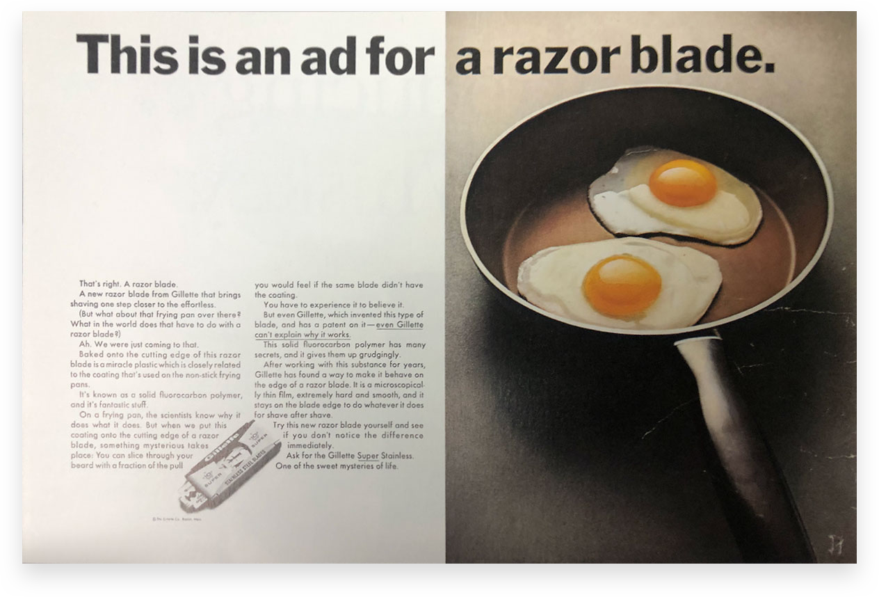 Gillette magazine ad showing how the headline and image can create curiosity