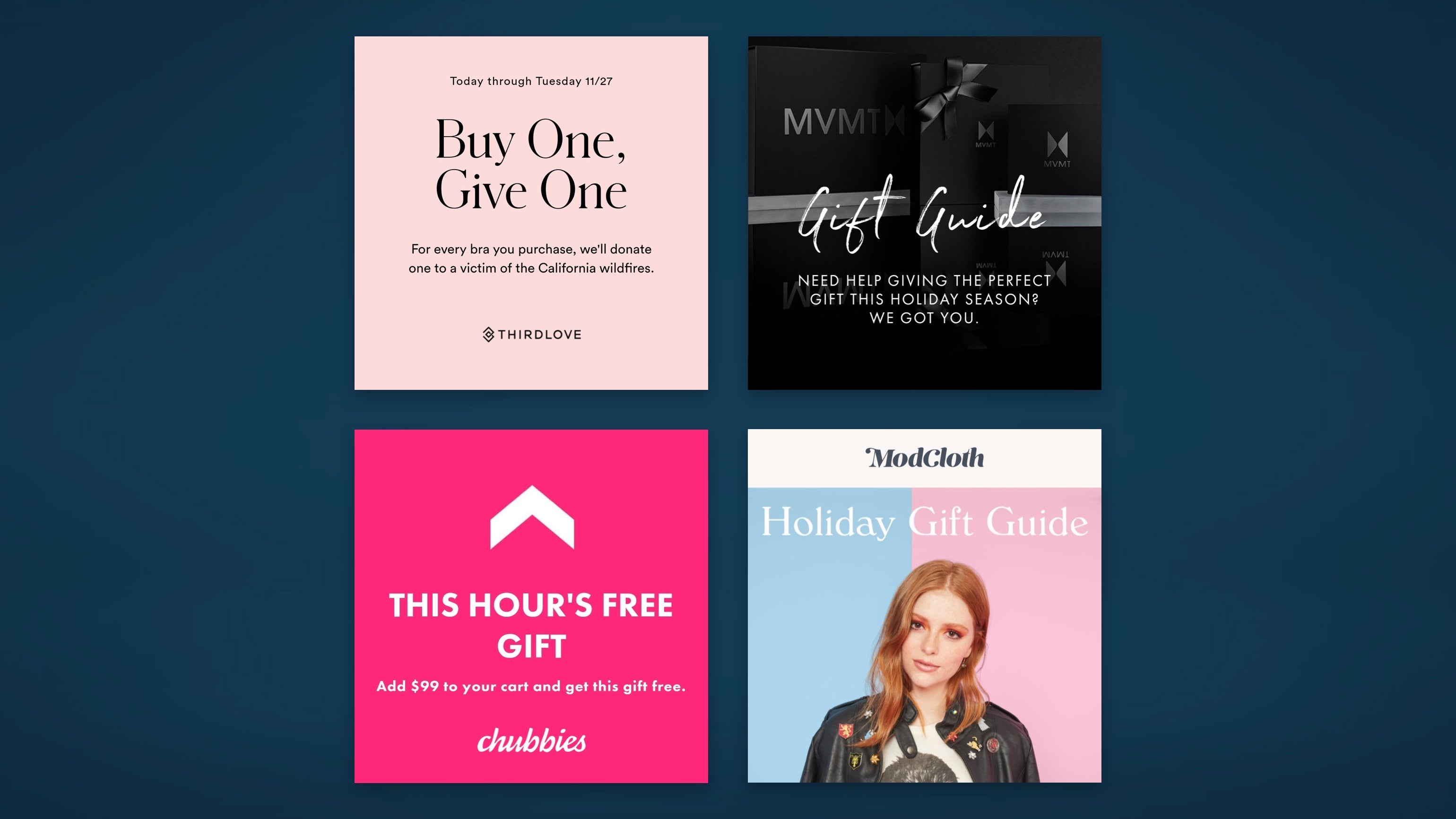 Gifting and gift guides ads for Black Friday, Cyber Monday