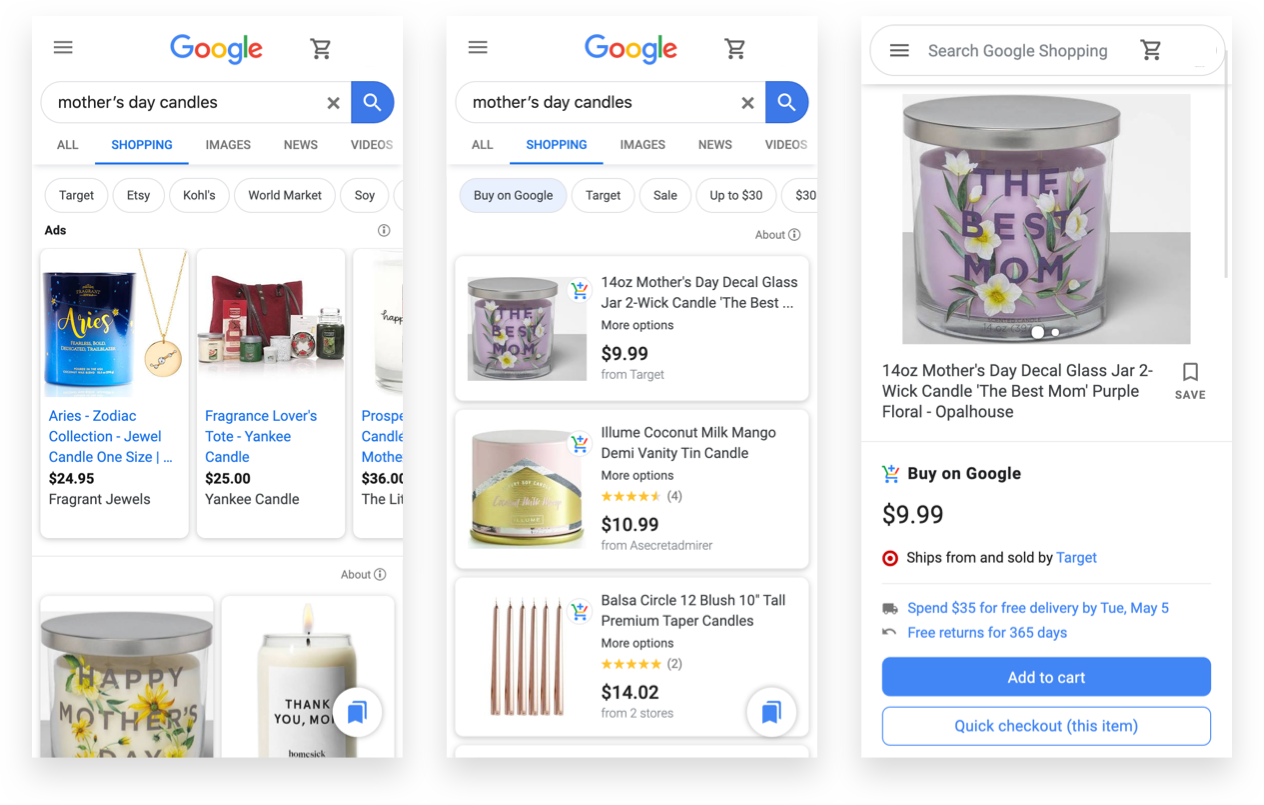 Google Shopping Actions, Google Free Product Listings, and Buy on Google