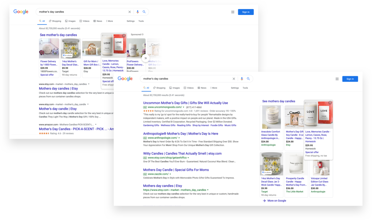 Google Shopping Ecommerce Ads - Mother's Day Candles