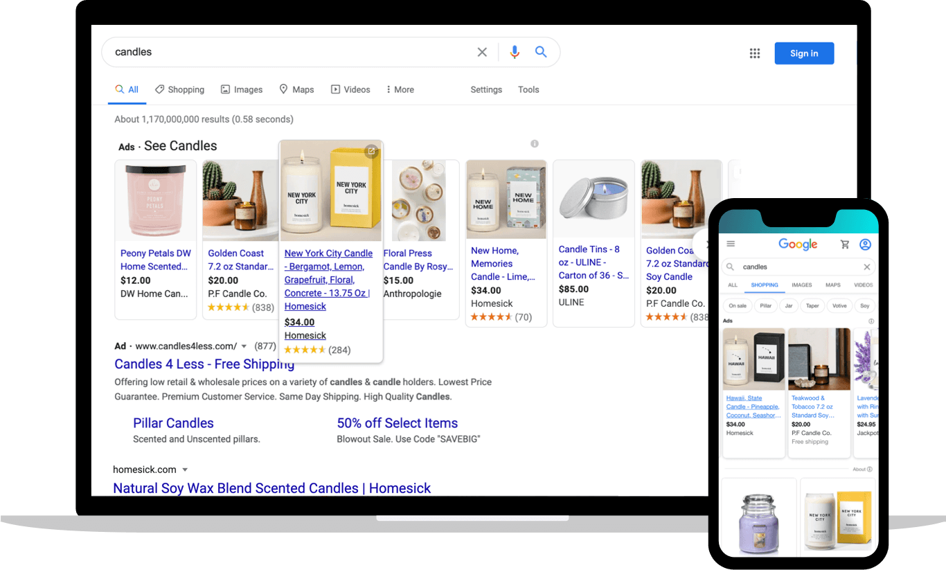 Google Shopping images showing results for search 'candles' Homesick Candles placement