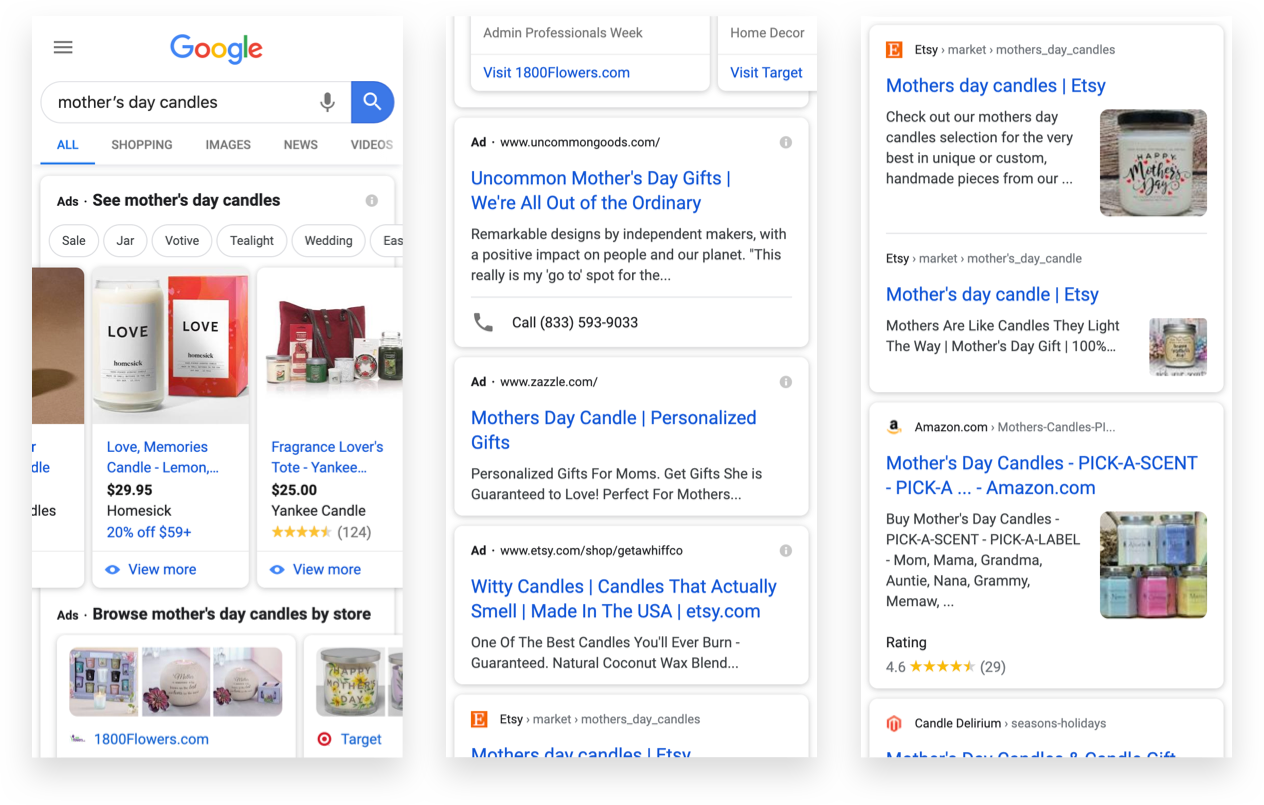 Google Ads and Google Shopping Examples from Search Engine Results Page