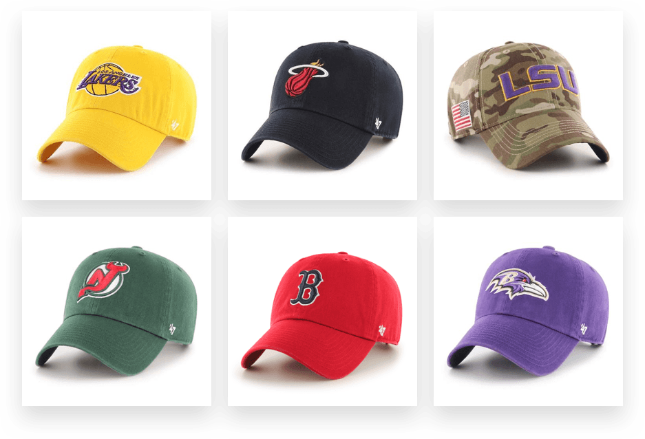 '47 Brand hats featuring endorsements from the NFL, NBA, MLB, NHL, and college sports