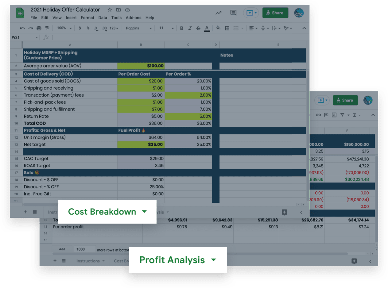 ecommerce holiday planning and profit template for breakdown and analysis