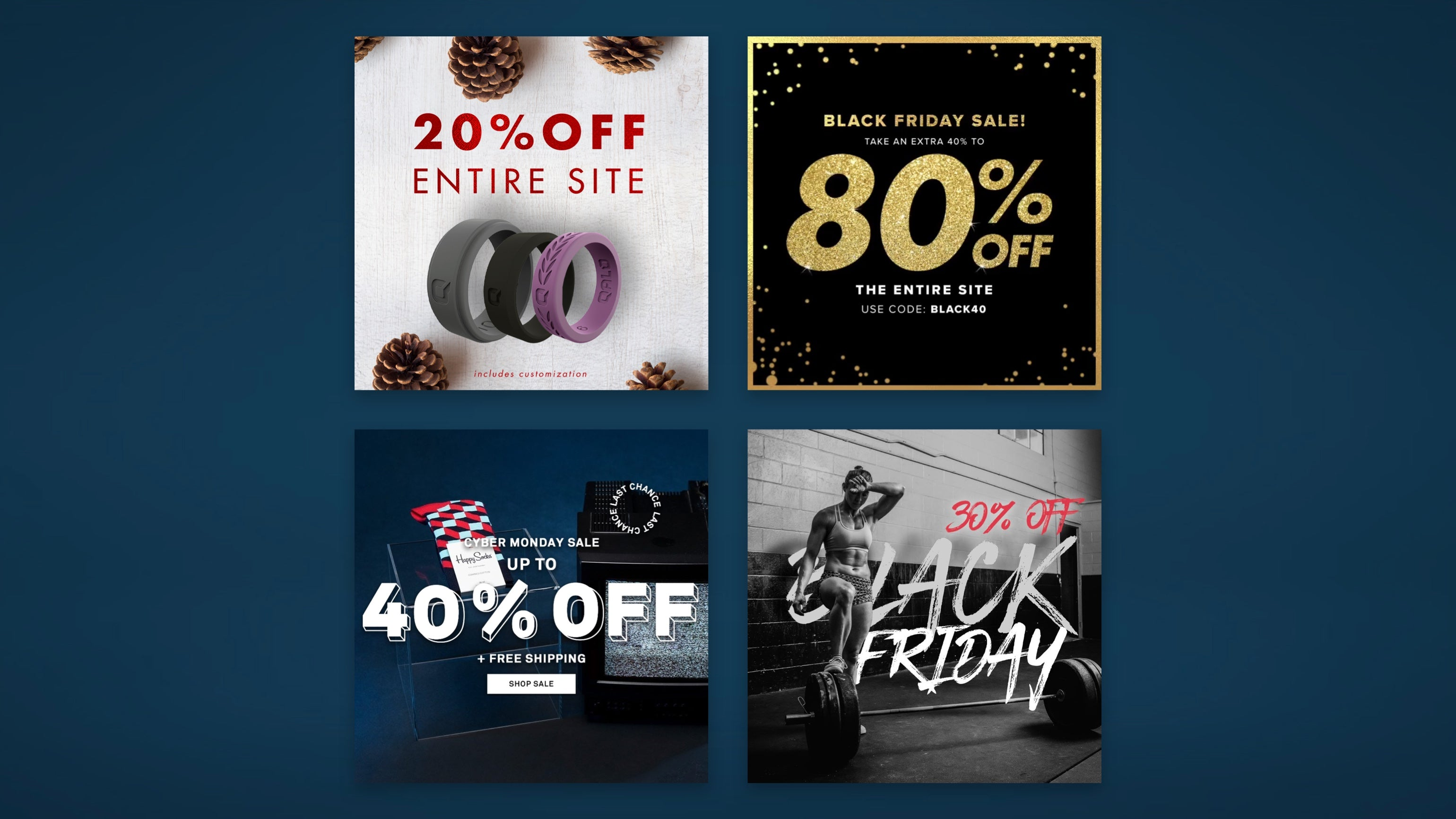 Black Friday offer ads on social