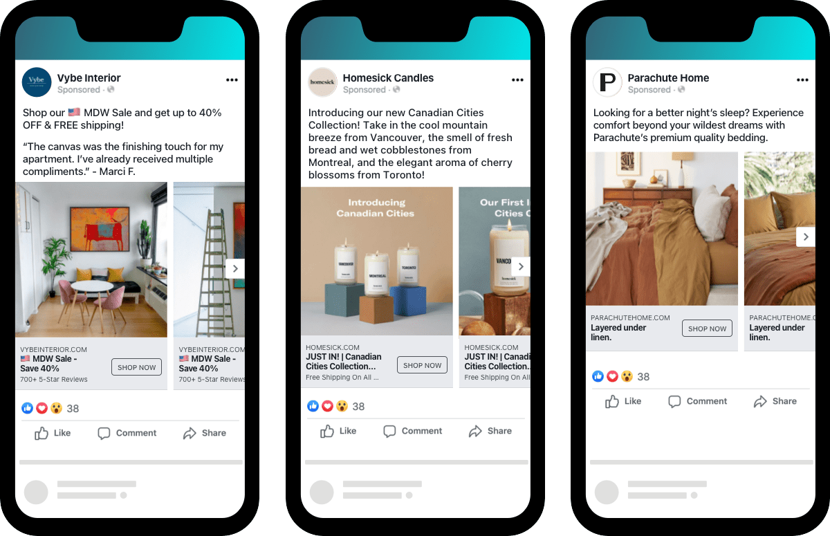 home furnishing industry ecommerce Facebook DABA ad examples