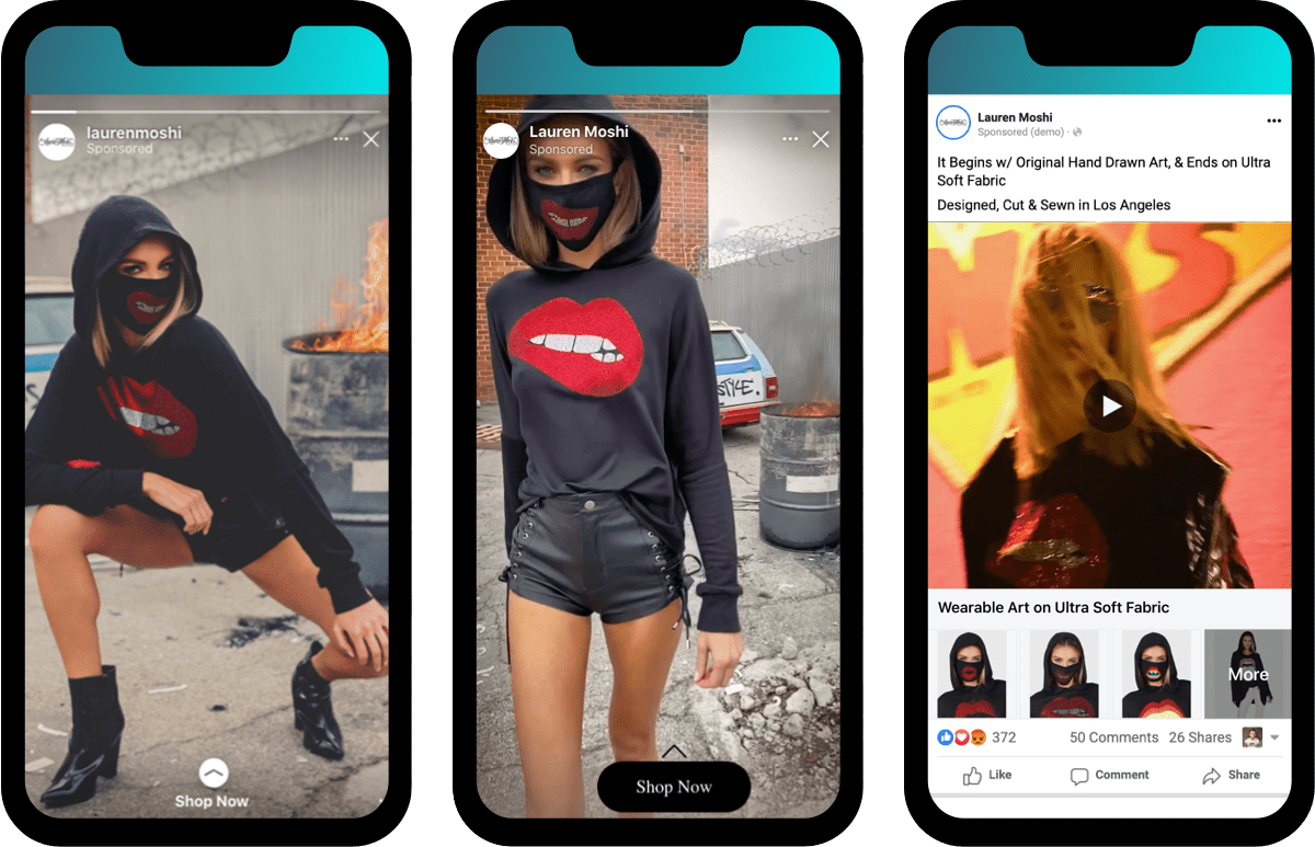 Lauren Moshi Instagram Story Ads and Dynamic Products Ads on Facebook