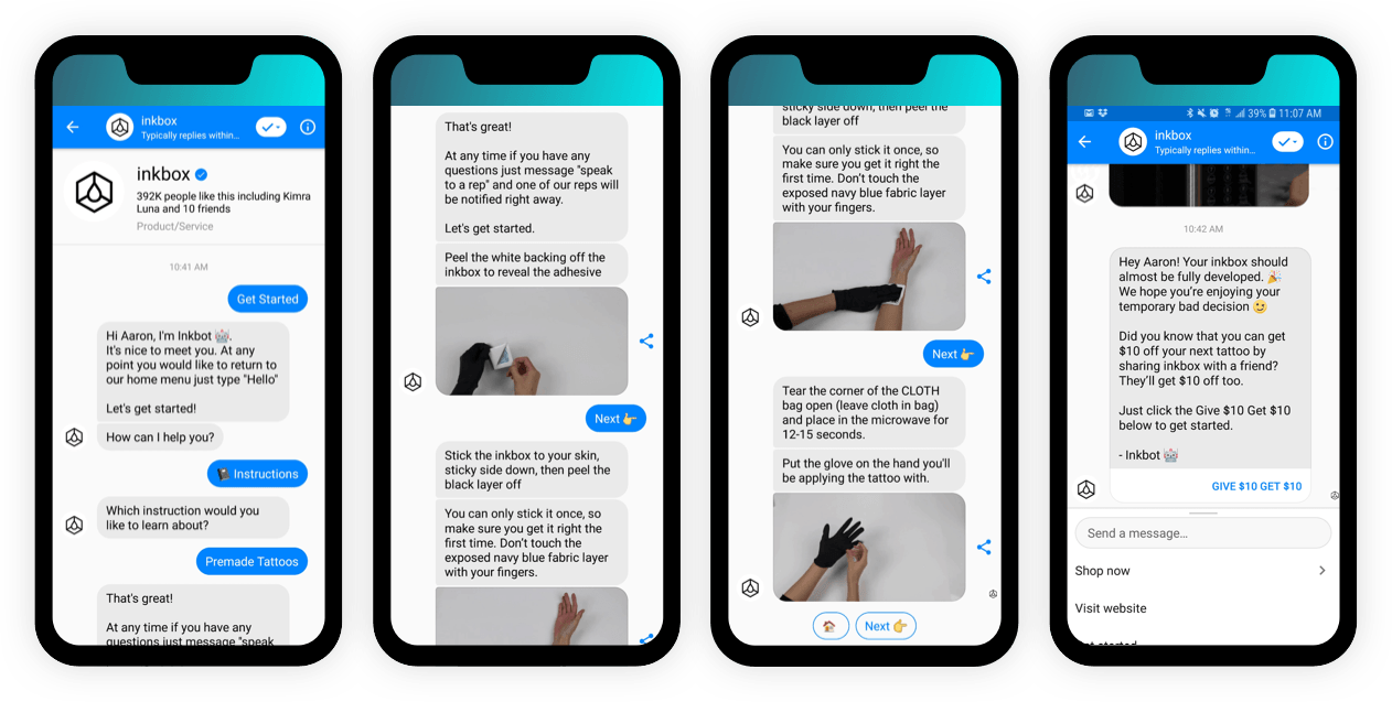 Inkbox uses a messenger bot to provide step-by-step help for new customers