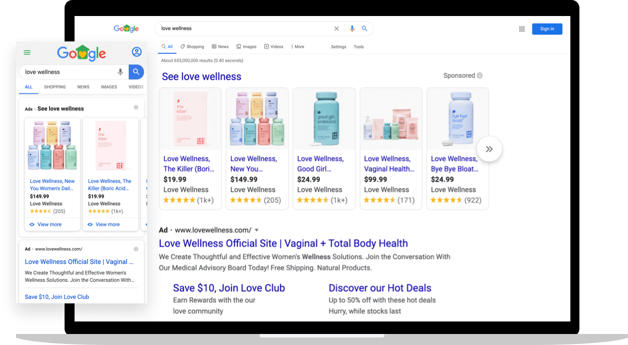 Love Wellness search ads