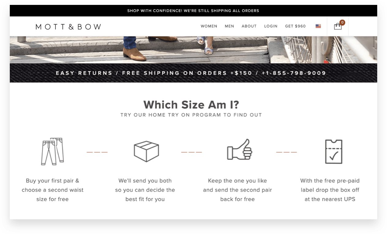 ecommerce fashion apparel brand Mott & Bow makes trying different sizes and sending returns simple for their customer