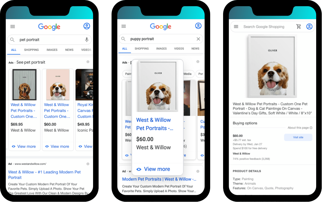 categorical search engine results show West & Willow for 'pet portrait' and related keywords