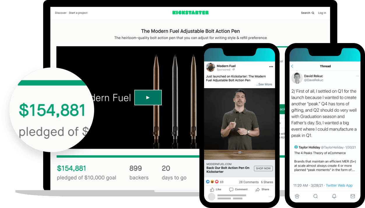 Ecommerce brand, Modern Fuel, uses a Kickstarter campaign to manufacture a peak in Q1 of its marketing calendar