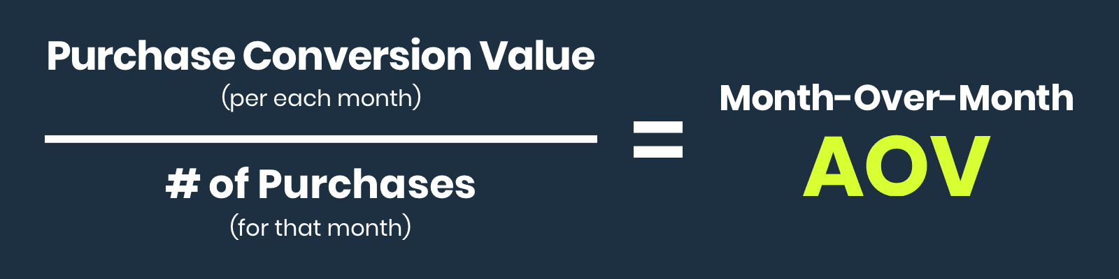To determine your month-over-month average order value: divide purchase conversion value (per each month) by the number of purchases (for that month)