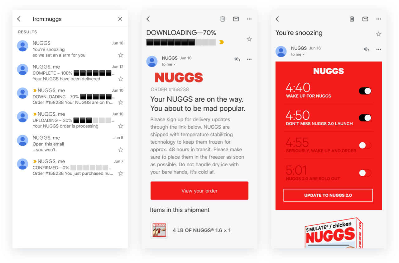 Nuggs post purchase emails for customer retention