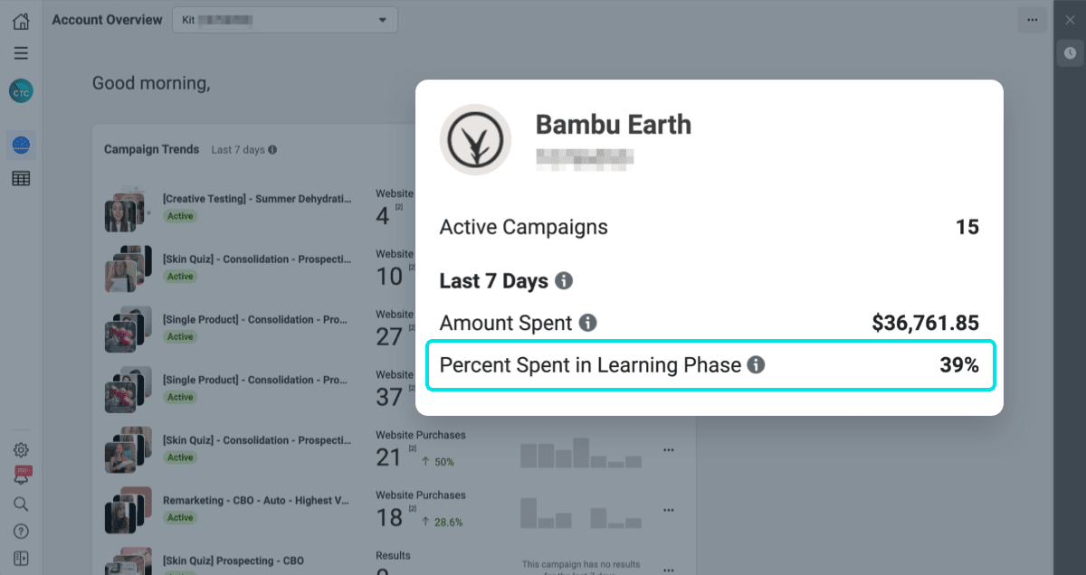 facebook ads audit: limit the time your account is in the learning phase