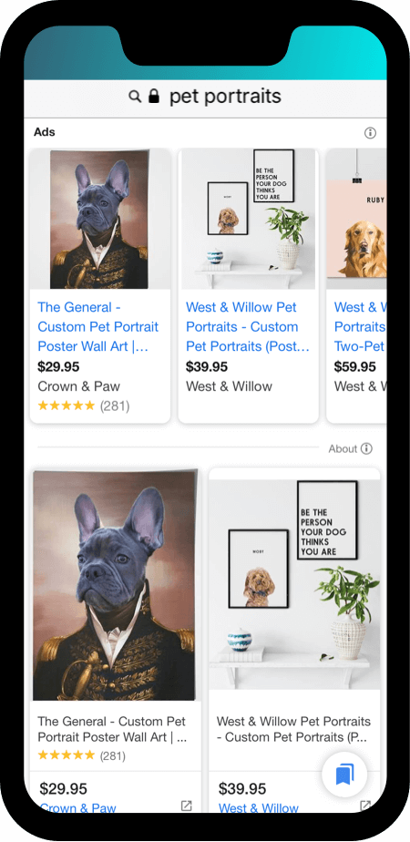 Google ad for eccomerce with unbranded term: pet portraits