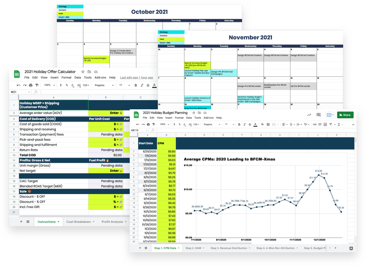 planning your black friday social media campaigns, 2021 holiday offer calculator, and 2021 holiday budget planning templates