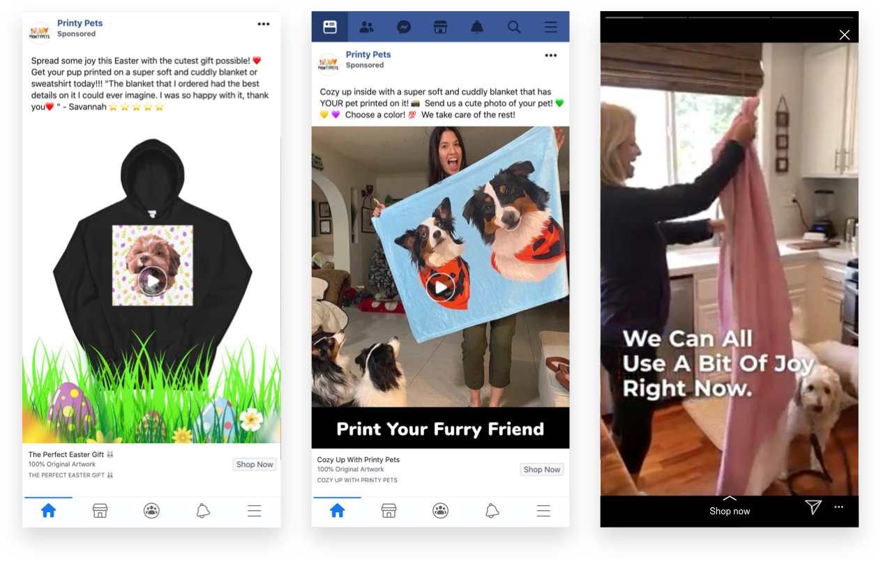 "Printy Pets - Easter and ""Cozy Up"" Facebook & Instagram Ads"