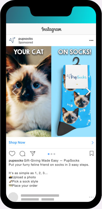 PupSocks cat Instagram Ad carousel